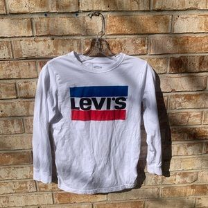 Boys Levi's white long sleeve graphic shirt